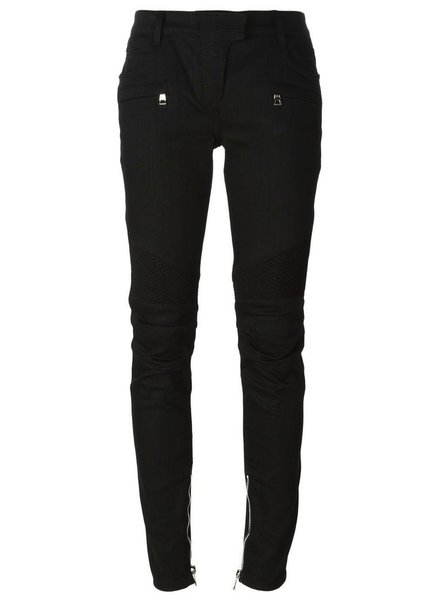 BALMAIN BALMAIN WOMEN RIBBED STRETCH COTTON DENIM BIKER JEANS BLK
