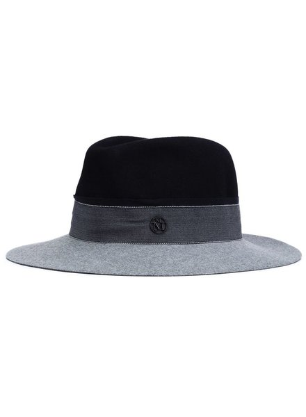 MAISON MICHEL PARIS MAISON MICHEL HENRIETTA HAT FELT NAVY/DIAPASON GREY