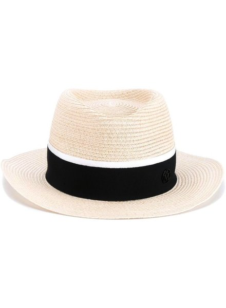 MAISON MICHEL PARIS MAISON MICHEL ANDRE HAT STRAW HAT W/ BLK RIBBON