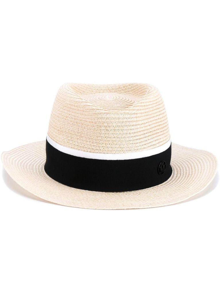 MAISON MICHEL PARIS MAISON MICHEL ANDRE HAT STRAW HAT W/ BLK RIBBON