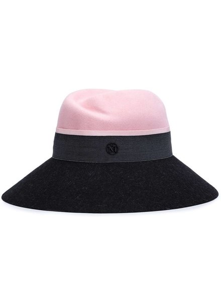 MAISON MICHEL PARIS MAISON MICHEL WOMEN ROSE HAT FELT DUET PROJECT ENGLISH PINK/CHARCOAL FWBG