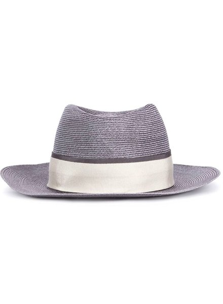 MAISON MICHEL PARIS MAISON MICHEL ANDRE GREY HEMP DOUBLE RIBBON HAT