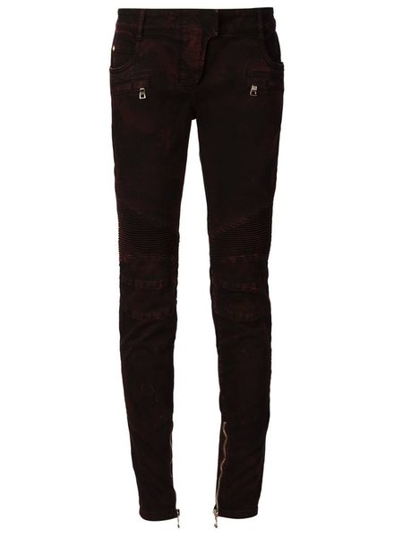 BALMAIN BALMAIN WOMEN DISTRESSED LOW-RISE BIKER JEANS
