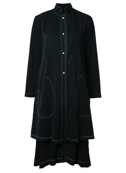 DEEPMOSS DEEPMOSS WOMEN CONTRAST STITCH LONG SHIRT