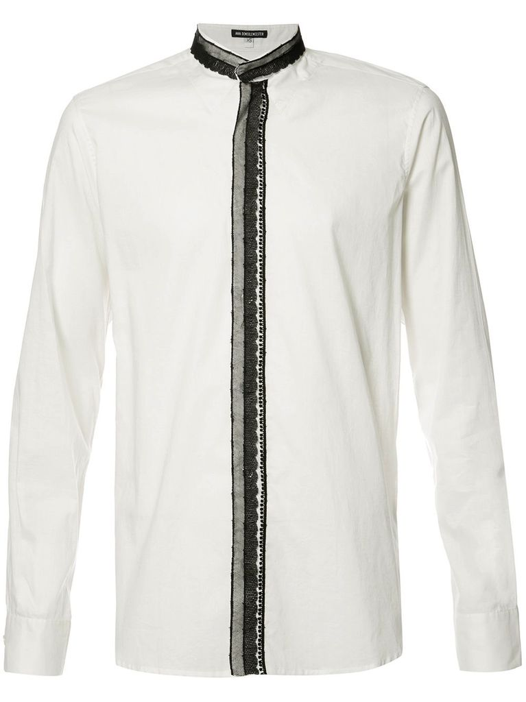 ANN DEMEULEMEESTER ANN DEMEULEMEESTER COTTON OFF-WHITE WITH RIBBON SHIRT
