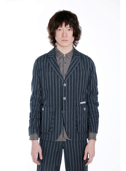 UNDERCOVER UNDERCOVER MEN STRIPED JACKET WITH LEATHER BUTTON
