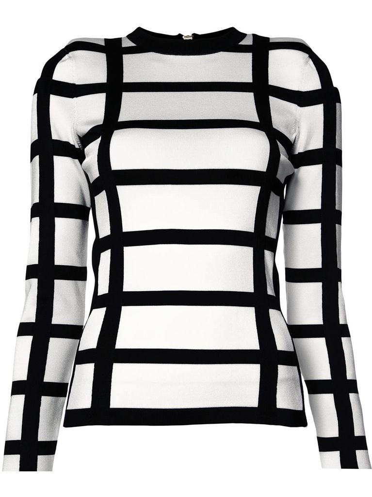 BALMAIN BALMAIN WOMEN COLOR BLOCK KNIT LONG SLEEVE TOP