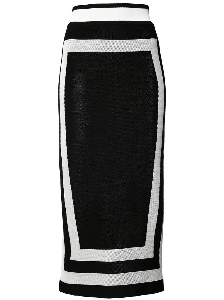 BALMAIN BALMAIN WOMEN COLOR BLOCK KNIT SKIRT