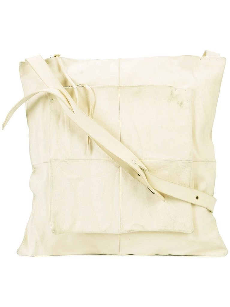 MA+ MA+SMALL PATCHWORK DOUBLE MESSENGER WHITE  PG LEATHER