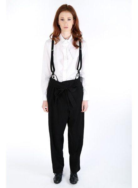 Y'S Y'S WOMEN BELTED PANTS WITH SUSPENDER