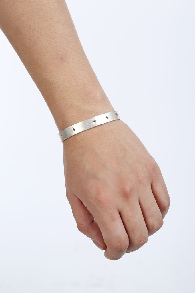 MA+ MA+ CROSS PUNCHED SILVER BRACELET