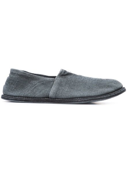 GUIDI GUIDI MEN LINEN OVER LEATHER SLIP ON SHOES