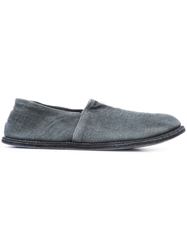 GUIDI 27E GUIDI MEN LINEN OVER LEATHER SLIP ON SHOES