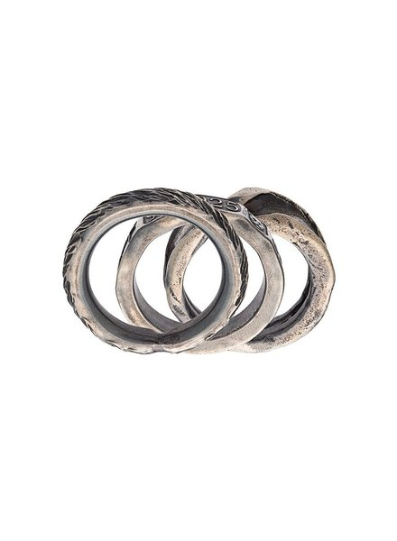 CHIN TEO CHIN TEO SCARRED TWISTED HALLMARK 3 RING SET