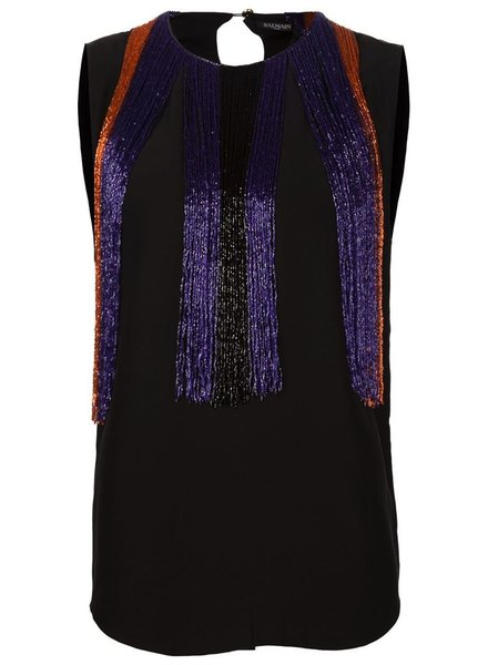 BALMAIN BALMAIN WOMEN BEADED SILK TOP