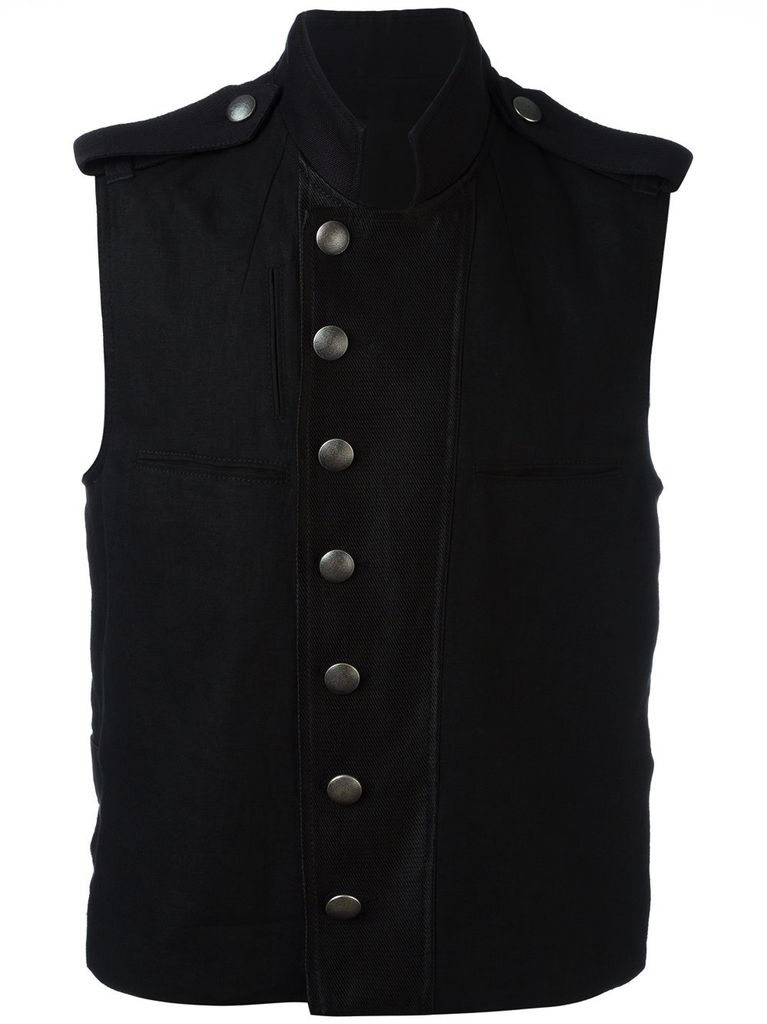 ANN DEMEULEMEESTER ANN DEMEULEMEESTER MEN SLEEVELESS MILITARY JACKET
