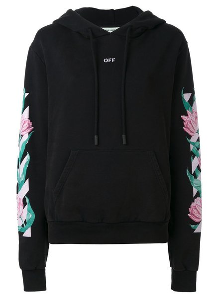 OFF-WHITE OFF-WHITE DIAG TULIPS OVER HOODIE BLACK