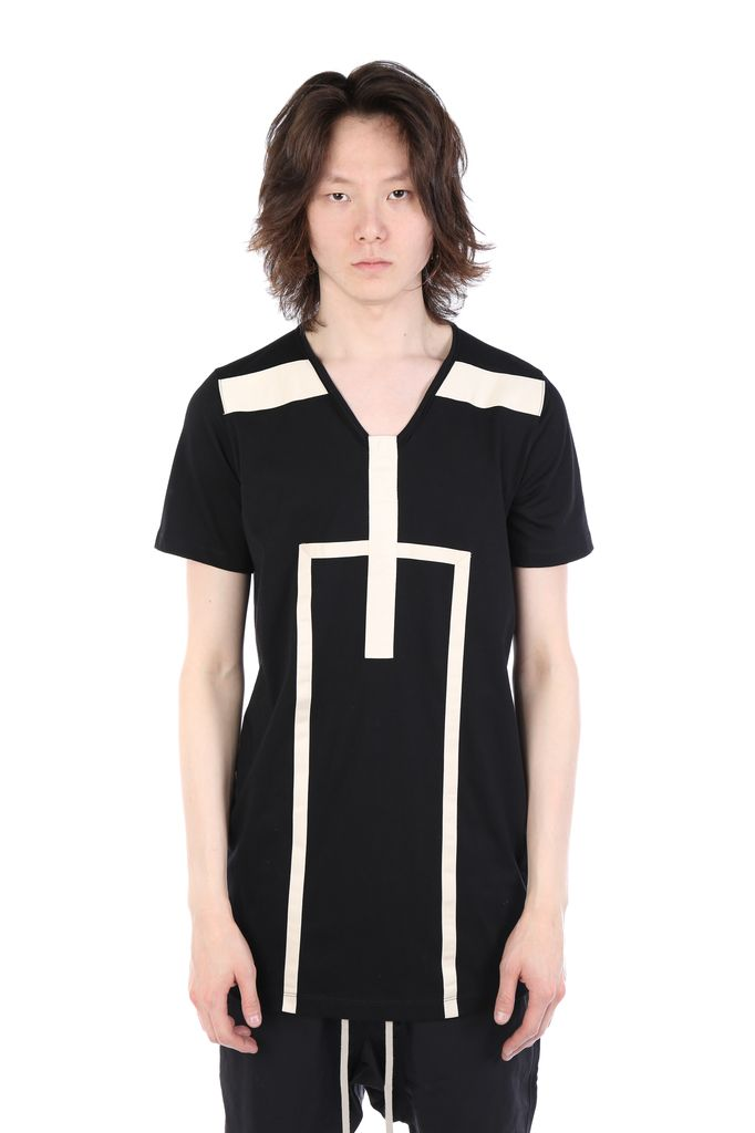 RICK OWENS DRKSHDW DRKSHDW MEN LEVEL TEE WITH CONTRAST STRIPES