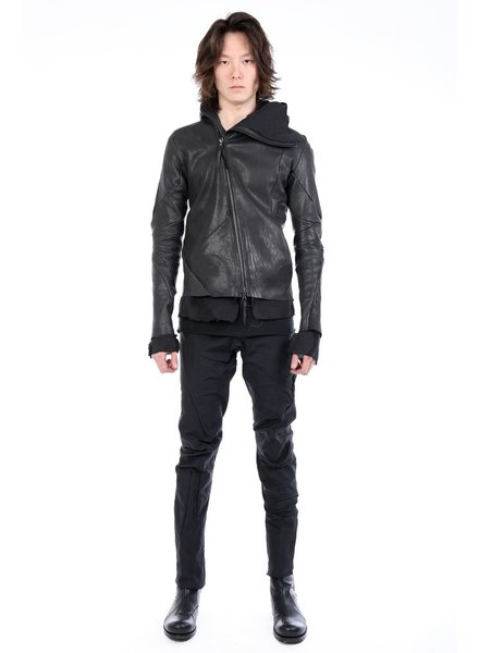 LEON EMANUEL BLANCK LEON EMANUEL BLANCK MEN DISTORTION HOODED LEATHER JACKET