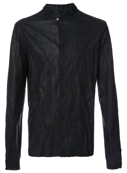 MA+ MA+ MEN SHORT COLLAR LEATHER SHIRT