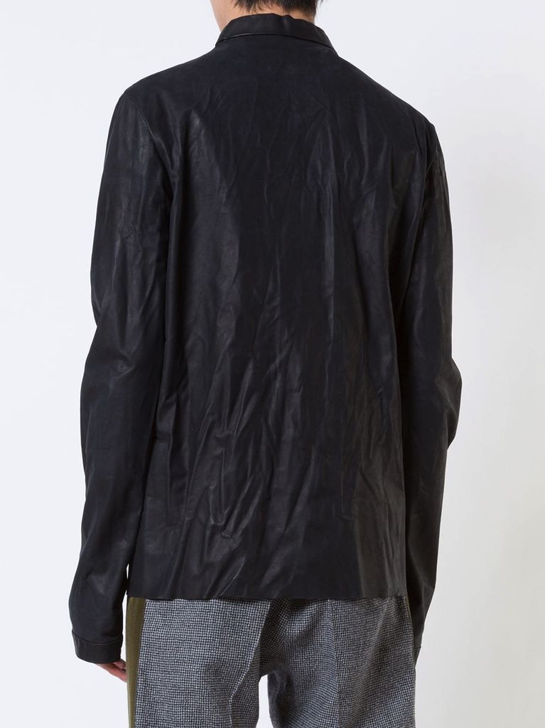 MA  MA  MEN SHORT COLLAR LEATHER SHIRT - Atelier New York