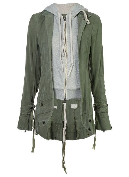GREG LAUREN GREG LAUREN WOMEN ARMY TENT/FLEECE E-1 HOODIE
