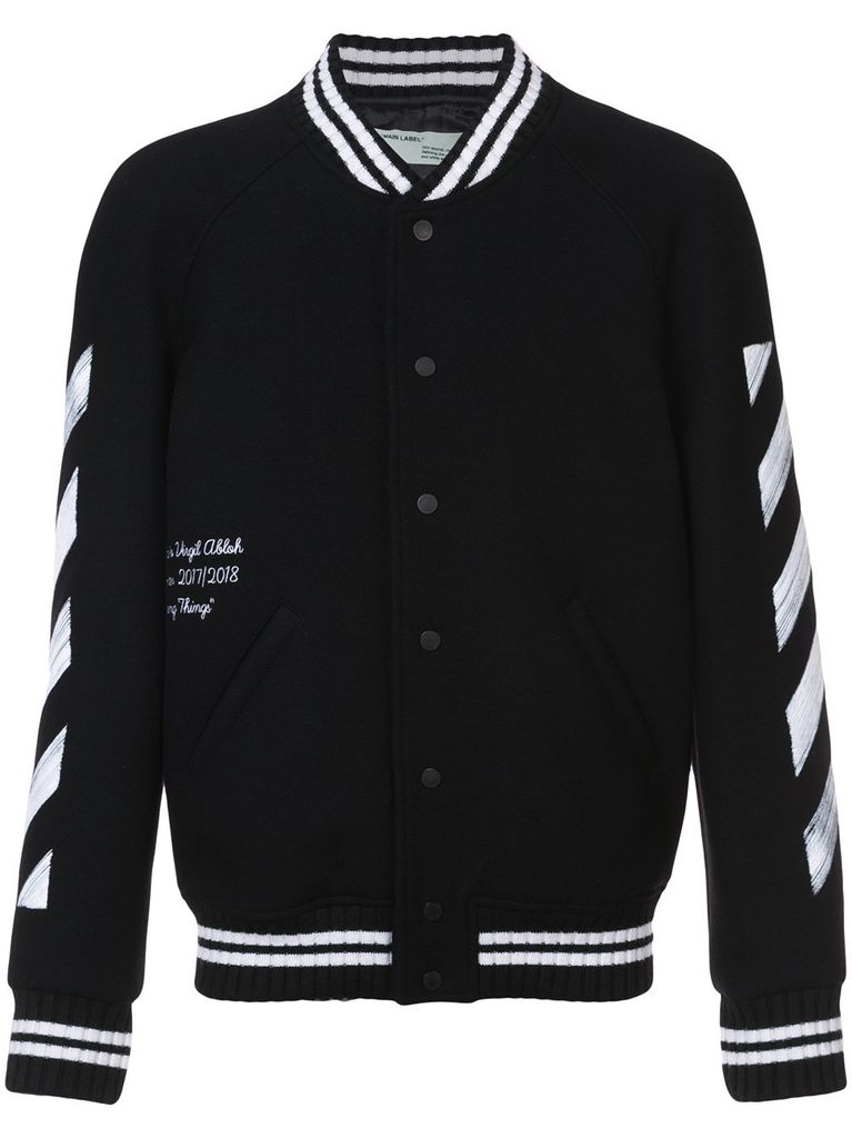 OFF WHITE MEN DIAG BRUSHED VARSITY JACKET
