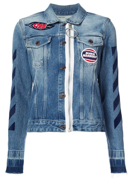 OFF WHITE WOMEN DIAG ZIP DENIM JACKET
