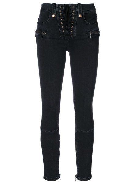 UNRAVEL WOMEN LACE UP SKINNY DENIM