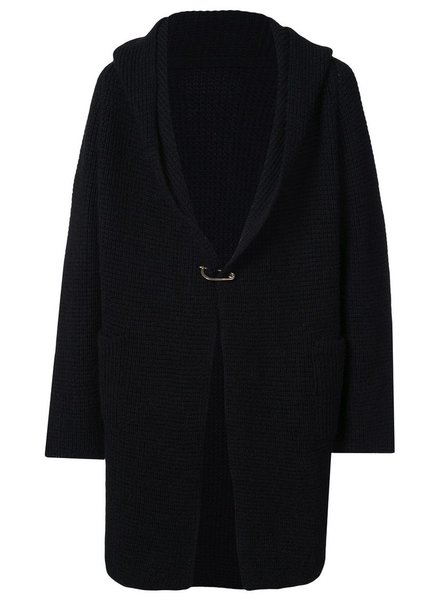 MA+ MA+ MEN KNIT HOODED SQUARE POCKETS CARDIGAN WITH SAFETY PIN CLOSER