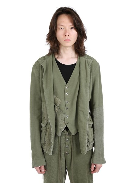 GREG LAUREN GREG LAUREN MEN ANTIQUE HEMP FAUX SUSPENDER OLIVER JACKET