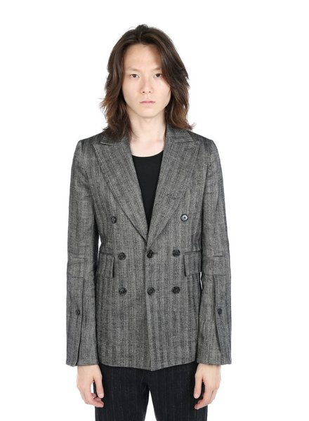 ANN DEMEULEMEESTER ANN DEMEULEMEESTER MEN STRIPED DOUBLE BREASTED JACKET