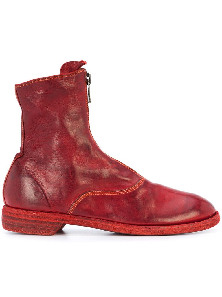 Guidi Bottes Avant Zip - Rouge nzNjbp3Us