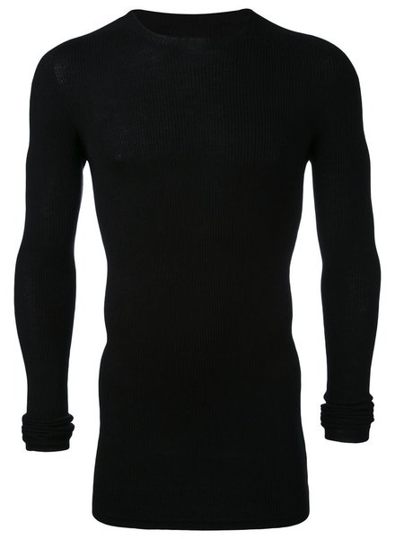 RICK OWENS RICK OWENS MEN RIBBED ROUND NECK SWEEATER