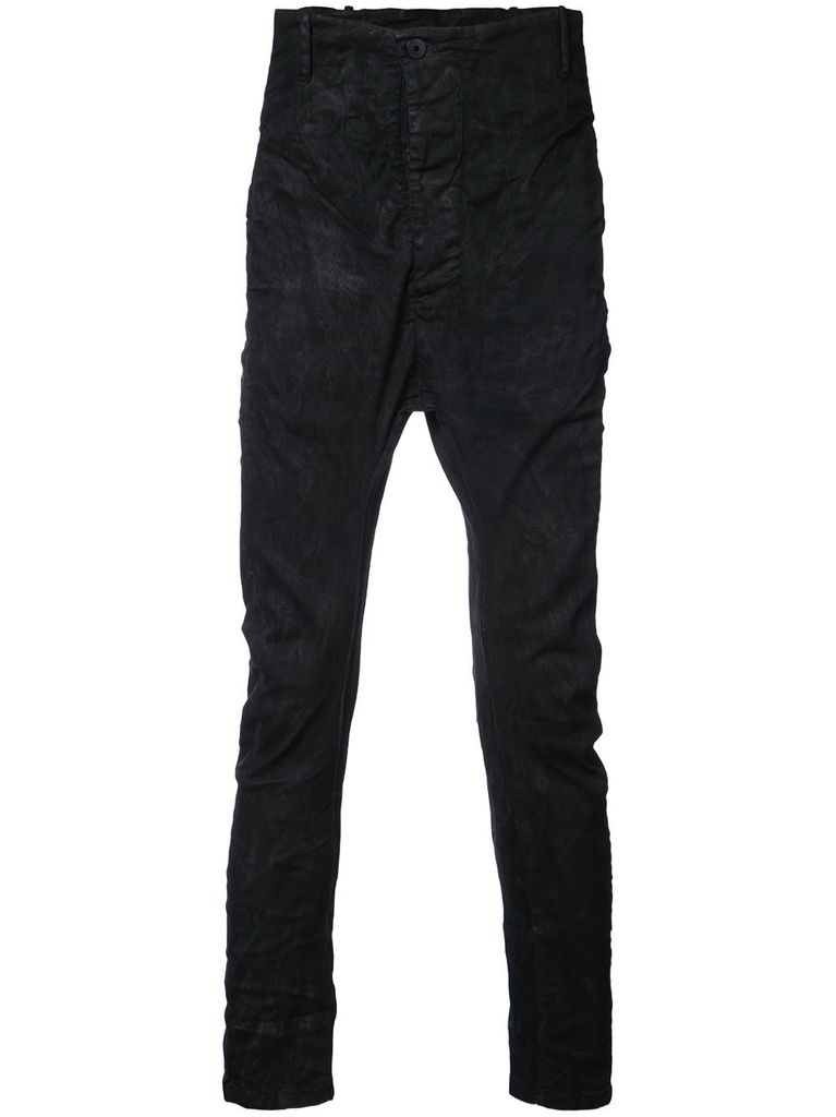 11 BY BORIS BIDJAN SABERI 11 BY BORIS BIDJAN SABERI MEN WAXED DROP CROTCH PANTS