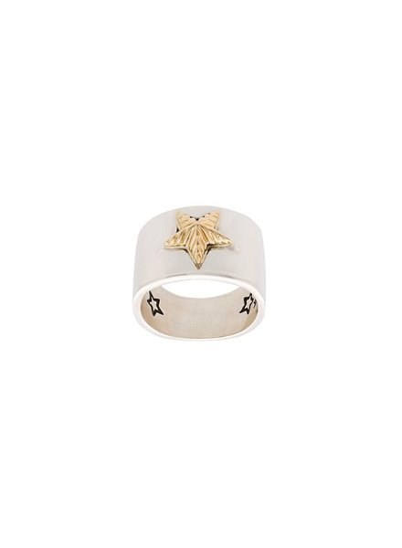 CODY SANDERSON CODY SANDERSON PLAIN STAR WITH 18K GOLD RIBBED STAR RING