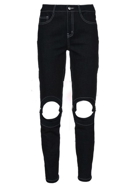 YAJUN YAJUN WOMEN CUT-OUT DENIM PANTS