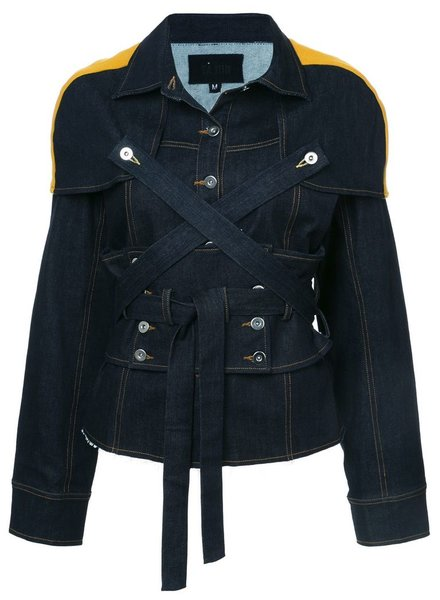 YAJUN YAJUN WOMEN CORSETED DENIM JACKET