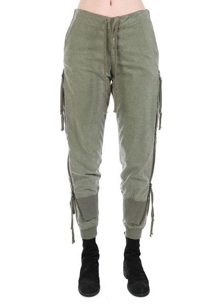 GREG LAUREN GREG LAUREN WOMEN ARMY TENT ZIPPER LOUNGE PANTS