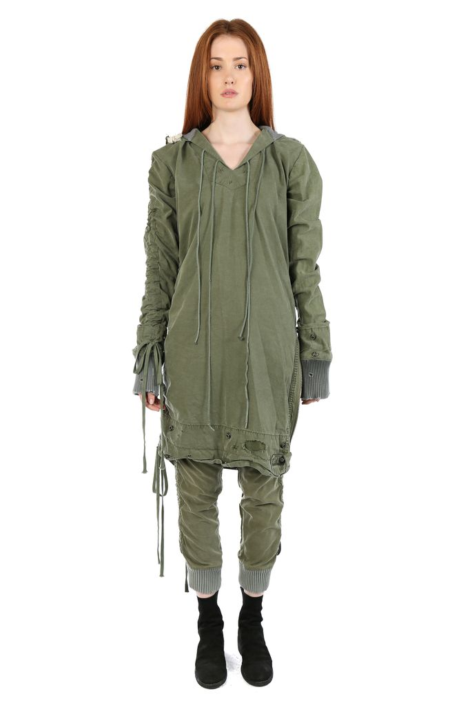 GREG LAUREN GREG LAUREN WOMEN ARMY TENT STACKED ASYMMETRICAL BAJA PARKA