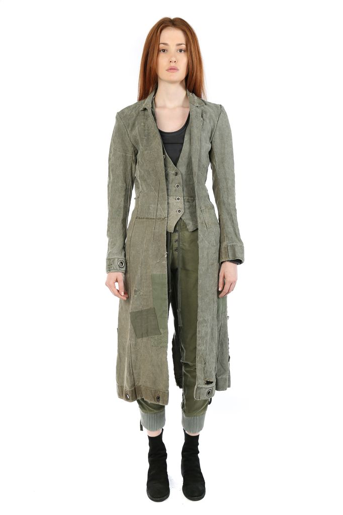 GREG LAUREN GREG LAUREN WOMEN LONG LINEN DUFFLE E-1 JACKET