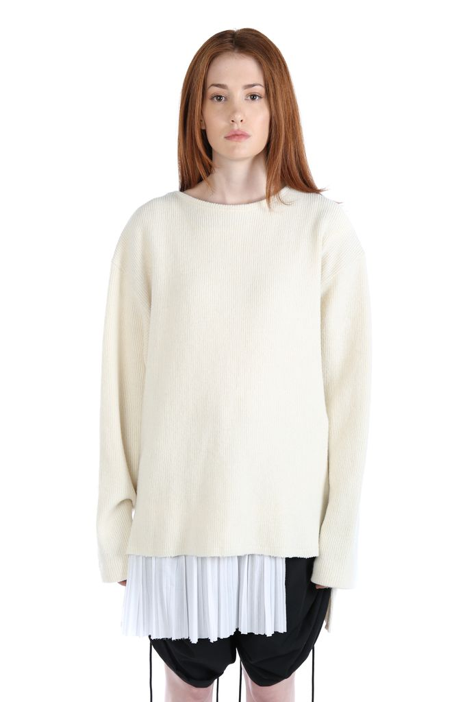 Y'S Y'S WOMEN SHIRT LAYERED SWEATER