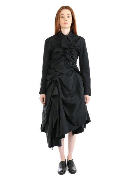 YOHJI YAMAMOTO YOHJI YAMAMOTO WOMEN RUNWAY OPEN GATHERED SHIRT DRESS