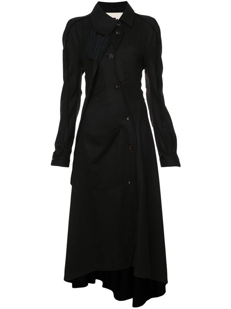 AGANOVICH AGANOVICH WOMEN CURVED BUTTON FRONT SHIRT DRESS