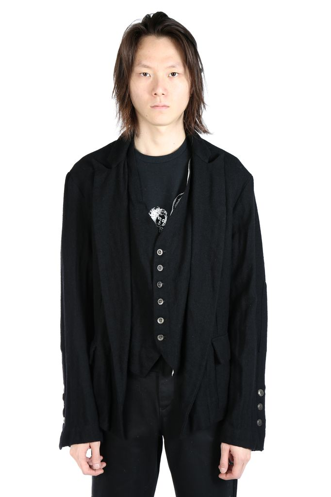 GREG LAUREN GREG LAUREN MEN BLACK WASHED WOOL OLIVER JACKET