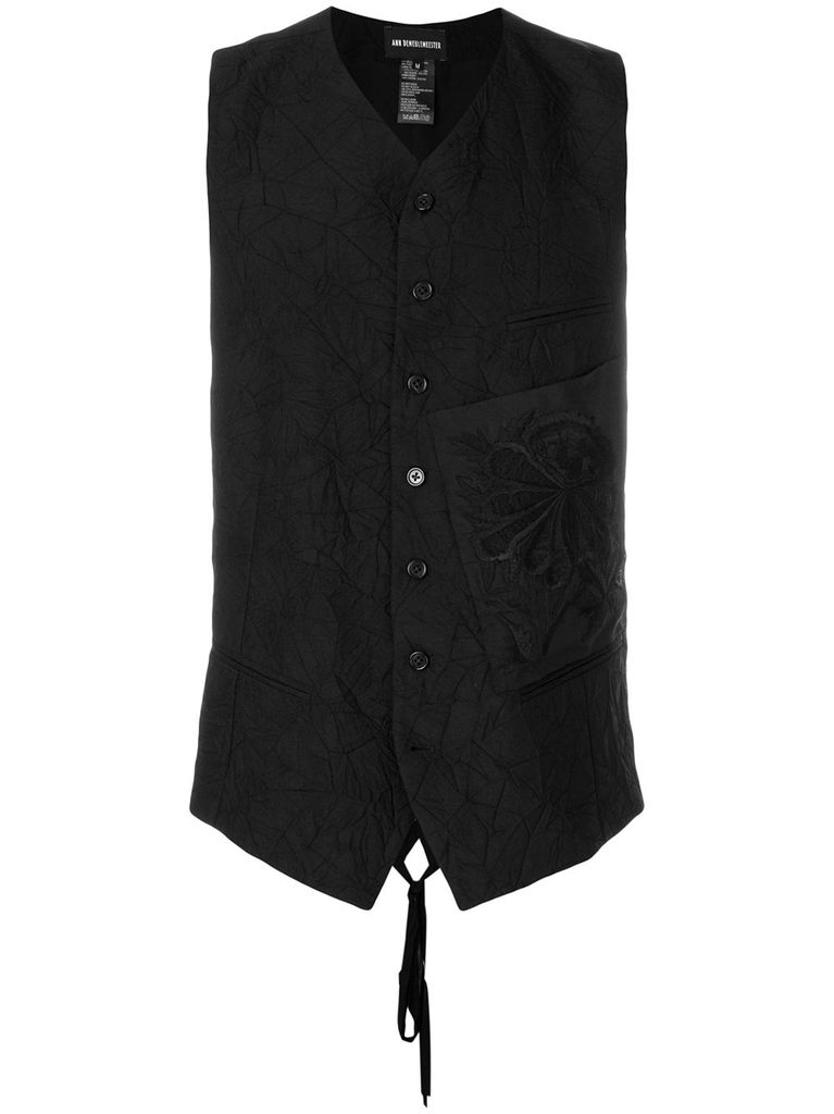 ANN DEMEULEMEESTER ANN DEMEULEMEESTER MEN PEYTON WAISTCOAT WITH PEONY PATCH