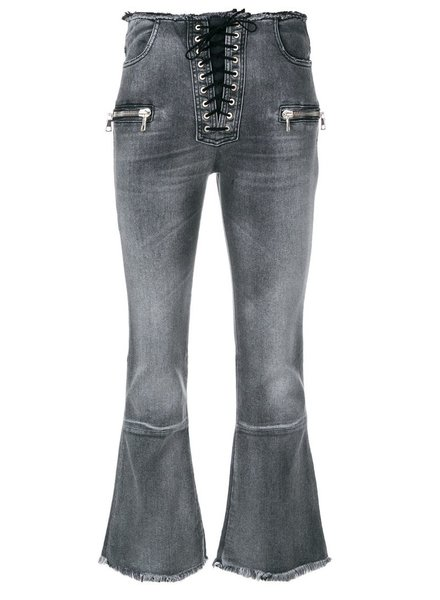 UNRAVEL PROJECT UNRAVEL WOMEN STRETCH DENIM RAW LACE FLARECROP STONE WASH