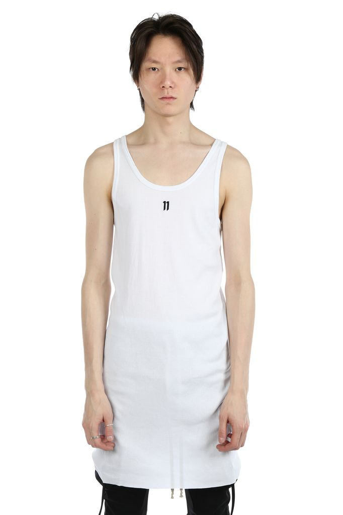 11 BY BORIS BIDJAN SABERI 11 BY BORIS BIDJAN SABERI MEN LOGO AND TYPE TANK TOP WITH CONTRASTED LABEL