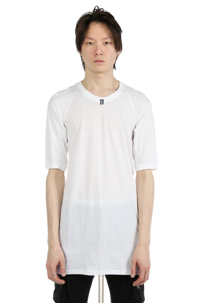 11 BY BORIS BIDJAN SABERI 11 BY BORIS BIDJAN SABERI MEN LOGO & TYPE T-SHIRT WITH CONTRASTED LABEL