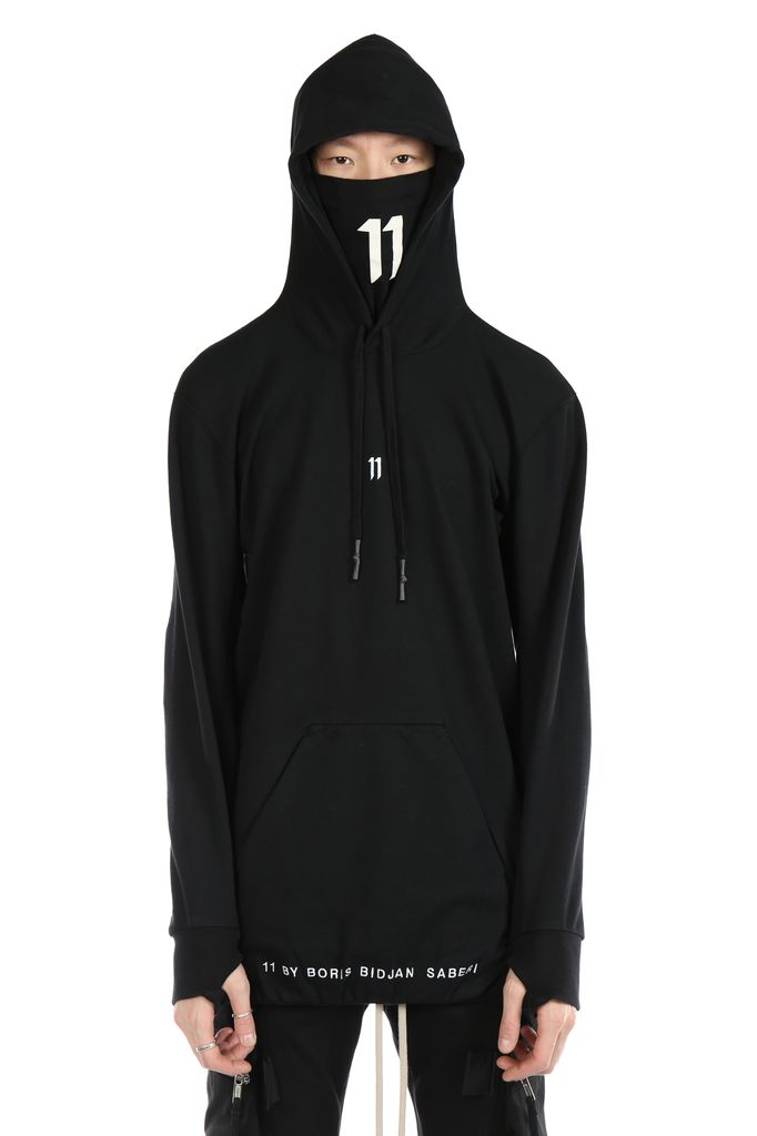 11 BY BORIS BIDJAN SABERI 11 BY BORIS BIDJAN SABERI MEN LOGO & TYPE HOODY WITH CONTRASTED LABEL